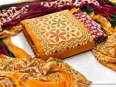 Women's Cotton Batik Print Dress Material With Dupatta Bandhani Dress, Salwar Dress, Anarkali, Salwar Material Online, Satin Dresses, Cotton Dresses, Cotton Dress Indian, Ethnic Gown, Womens Dress Suits