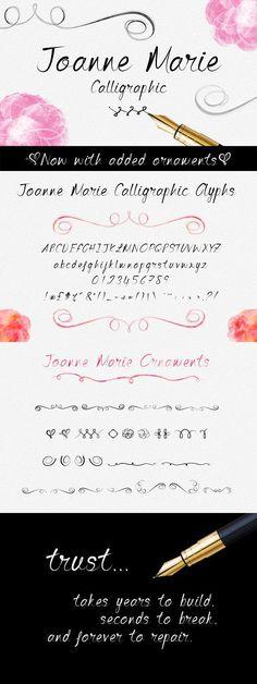 Joanne Marie Calligraphic Font. Wedding Fonts