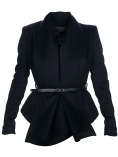 Black cashmere blend blazer from Burberry Prorsum featuring a draped front, a belt around the waist, two jetted front pockets, long sleeves and fabric side vents.