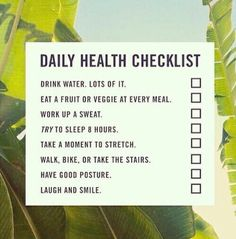 Daily Health Checklist fitness workout exercise health workout quotes exercise quotes checklist fitspiration