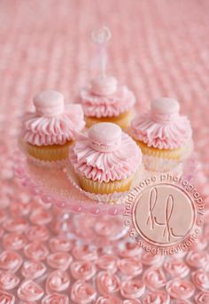 pretty french macaron cupcakes!!  Add a Dance theme topper... :)!