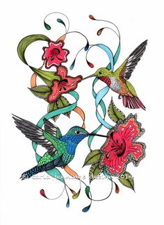 Humming bird art print with hibiscus flowers. by TheTangledPeacock