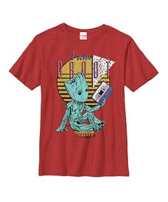 0bee1d8e3 GOTG Red 90s Groot Tee - Youth Groot Guardians, I Am Groot, Galaxy 2