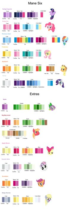 My Little Pony: Friendship is Magic color guide! by AtomicLance on deviantART… This could be better with Pantone numbers