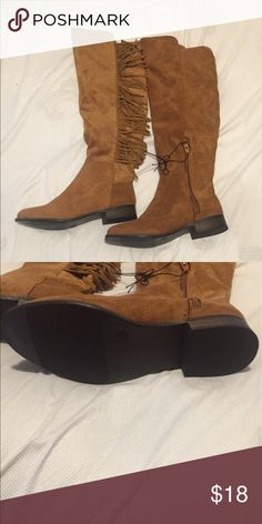 NEW Brown suede over the knee boots Very cute, stylish fringe boots from target. Size 8 and brand new Mossimo Supply Co Shoes Over the Knee Boots