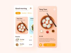 Small fresh food UI designed by Devin. Mobile Ui Design, Ui Ux Design, Interface Design, Web Layout, Layout Design, Graphic Projects, Mobile App Ui, Ui Inspiration, Cool Designs