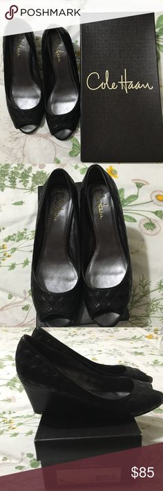 Cole Haan wedge peep toe shoes Black Cole Haan wedge open toed shoes size 8. Wore once like new condition. Comes with dust bag. Cole Haan Shoes Heels