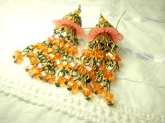 Orange Red Chandelier Earrings With Glass Crystals and by juta230, $31.95