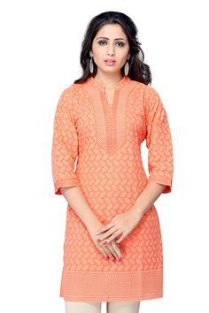 Delightful orange georgette kurti with thread work all over - Ethnic - Kurtis