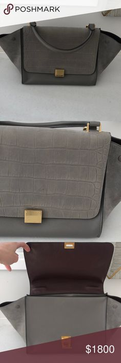 Celine Stamped Crocodile Trapeze Medium Gray Bag Bought in Capri, with  tags, lightly worn bf7be72ca7