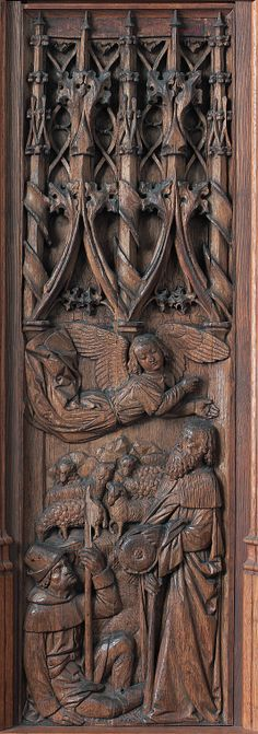 Panel with an Angel Appearing to Joachim,16th cent. ~   Normandy,French