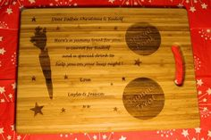 """""""Christmas Eve, Santa & Rudolf"""" Personalised Board / Serving Tray / Plate Wine Bottle Gift, Night Love, Wooden Gifts, Christmas Eve, Bamboo Cutting Board, Yummy Treats, Tray, Santa, Plates"""