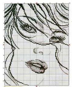 0 point de croix portrait fille - cross stitch girl portrait