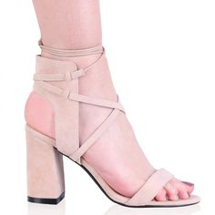 Anina square toe strappy sandals in bright pink