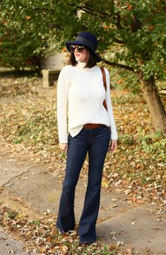 Floppy Hat, Navy Hat, Cream Sweater, Flare Jeans
