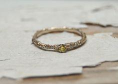 Yellow Diamond Gold Brooks Ring - 14kt White Gold and Rare Yellow Diamond Twig Engagement Wedding Ring