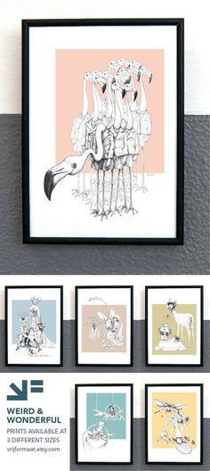 The series Weird & Wonderful features bizarre, unique, surrealistic pen drawings of animals and people in strange combinations. Flamingo's in school uniforms, a family portrait of hairless cats, a harehopper that loves carrots, deer from space, crabs in a circus and a giraf that is tormented by bugs.   Also available as large print on canvas with beechwood frame or as postcards. #weirdandwonderful #wallart #homedecor #vrijformaat