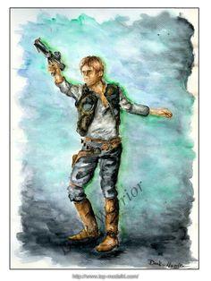 Watercolor: Han Solo By: Dark_Warrior  Artwithdarkwarrior.blogspot.com