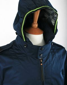f20577743aa34 Ma.Strum Three Layer Cotton Sateen Camp Jacket - Cool Navy Blue Raincoat,  Navy