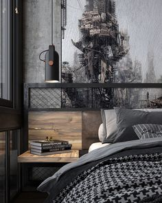 Turn Up The Dial On Industrial Style Apartments That Turn Up The Dial On Industrial Style Un loft industriel à Kiev - PLANETE DECO a homes world Black Splash removable wallpaper mural wall mural Industrial Bedroom Design, Vintage Industrial Decor, Industrial House, Industrial Interiors, Urban Industrial Master Bedroom, Industrial Office, Industrial Kitchens, Decor Vintage, Industrial Lamps
