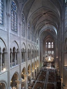 Cathedral Notre-Dame, Paris. Interior, nave, gallery level, looking northeast.