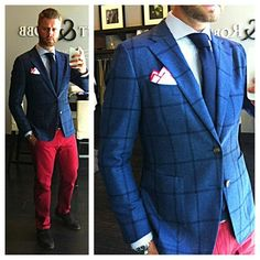 Navy windowpane unstructured, unlined jacket of VBC flannel. Custom by Beckett & Robb