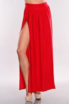 #Amiclubwear              #Skirt                    #Slit #Detail #Maxi #Skirt                          Red Two Slit Detail Maxi Skirt                                                http://www.seapai.com/product.aspx?PID=1725454
