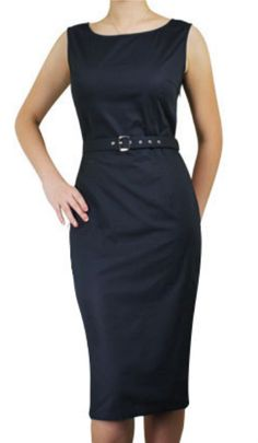 1fbc6407c1 Modern Grease Clothing and Accessories Co. - Audrey Belted Black Sleeveless  Pencil Dress