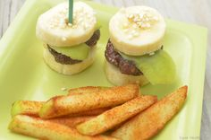 mini pretend burgers with chocolate and bananas and cinnamon apple fries