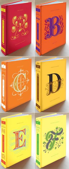 Beautiful. Penguin Drop Caps Series, letters A through F.