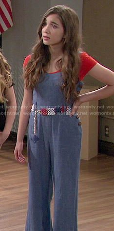 Riley's chambray wide-leg jumpsuit on Girl Meets World.  Outfit Details: http://wornontv.net/51269/ #GirlMeetsWorld