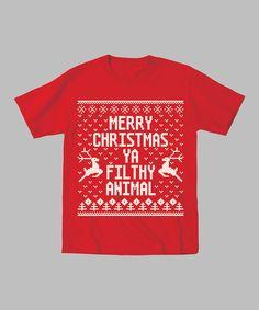 KidTeeZ Red 'Merry Christmas Ya Filthy Animal'