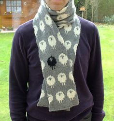 Stranded Sheep Scarf free knitting pattern and more sheep and lamb knitting patterns