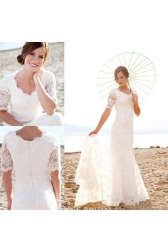 5b41cccd5 Modest Short Sleeves Beach Garden Elegant Lace Mermaid Bridal Gown with  Pearls