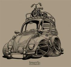 Charcoal bug. #cartoon #sketch #vw #volkswagen #drawing #aircooled #autoart #artbylemorris