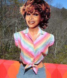 vintage 70s blouse RAINBOW stripe tie half shirt by skippyhaha