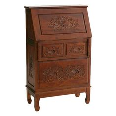 Handmade solid camphor wood secretary desk with hand-carved drawer fronts and a file cabinet bottom.       Product: Secretary desk