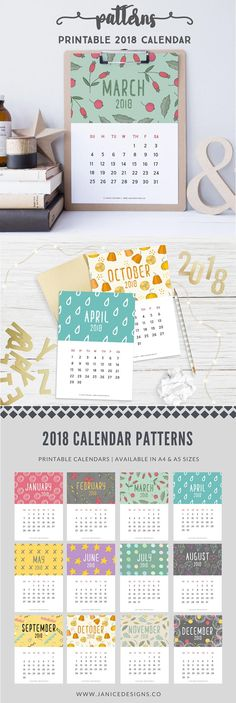 2018 Printable Calendar: Patterns