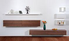 Wohnwandsystem Trento IV Weiß-Walnuss günstig online kaufen - FASHION FOR HOME