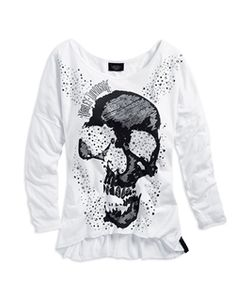 Harley-Davidson Womens Skull and Sparkle Knit Tee