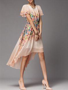 Floral-print Chiffon Midi Dress HZY - stylewe.com