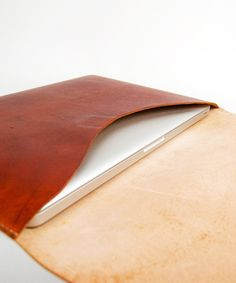 Natural tan leather MacBook Air case #handmade #gifts #ultrathin #laptop