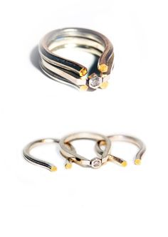 ©Lucie Hunter Jewellery. Stack Rings. Sterling Silver, Gold Plate, Diamond.