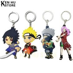 Buy 2 get 1 free Naruto anime cartoon figures Kakashi Sasuke action & toy figures pendant Key Chains Collection model toy