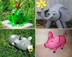 Animaletti fatti con il riciclo creativo dei flaconi
