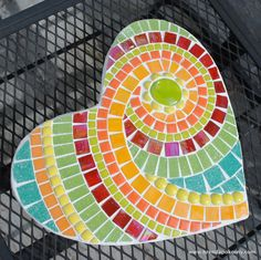 Key Lime Mosaic Heart Stepping Stone MOO5053 by brendapokorny