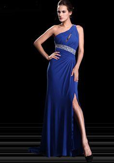 Alluring Floor Length Chiffon One Shoulder Sheath/ Column Sleeveless Evening Dress - 1300305906B - US$199.99 - BellasDress