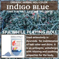 Celebrate Holi (the festival of colours) also called Rangpanchami with Omved Herbal Holi Colours - made according to ancient traditional formulations using 100% pure and natural extracts of flowers, fruits, medicinal herbs and seeds. Each colour is not only rich in therapeutic properties but also naturally fragrant thus combining spa nourishing with the green celebration of tradition. This is what our yellow color is made from! - Indigo leaves. Click to buy