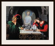 Satan may try to get us in checkmate but  through Christ we always have one more move! Heard a great sermon by Perry Stone regarding this painting.
