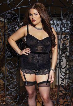 36895bdb5ce Plus Size Crochet Trim Black Bustier Plus Size Corset